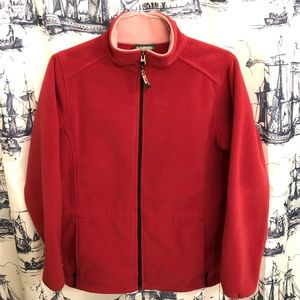 LL Bean Pink Red Fleece Zip Up Sweater Jacket